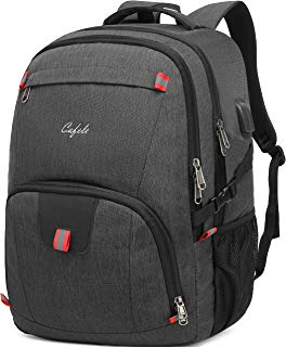 Backpack,Large College Waterproof School Backpack w/USB Charging Port Fit 17 Inch Notebook Computer,Lightweight Carry on Shoulder Backpack with Luggage Sleeve for Business Trip Work Men Women Grey