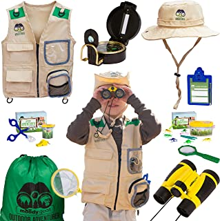 Moody Goat 21 - Pcs Outdoor Explorer Gear Deluxe Play Set for Kids – Junior Adventurer Equipment Kit for Children – Exploration Toys with Binoculars, Bug Catcher, Magnifying Glass & Backpack