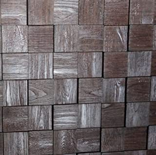 Harmony Cubes PVC Thermoplastic 3D Wall Panels - Decorative Luxury Interior Design Wall Paneling Decor Commercial And Residential Application 2' x 2', 4 sq ft (Wood Walnut)