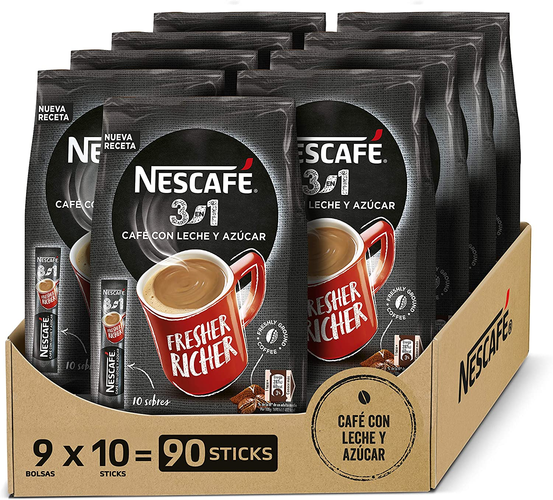 NESCAFÉ 3 EN 1, café soluble natural con leche y azúcar, Pack de 9 bolsas con 10 sobres, TOTAL 90 sobres