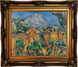 Historic Art Gallery Mountains Mont Sainte-Victoire Seen from The Bibemus Quarry 1897 by Paul Cezanne Framed Canvas Print, Size 16x20, Gold