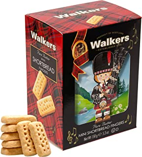 Walkers Shortbread Piper, Mini Fingers Pure Butter Traditional Shortbread Cookies in Novelty Packaging, 5.3 Ounce Decorative Carton