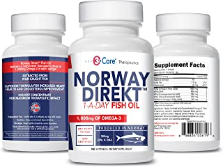 Norway Direkt Omega-3 Fish Oil 3,000mg Fish Oil Concentrate | 1060mg EPA, 740mg DHA (2 Soft-Gel Serving) Ph...