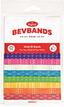 BevBands set of 8 Drink Markers an Everyday Alternative to Wine Charms, Series 1 Rainbow