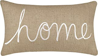 DecorHouzz Burlap Rustic Home Sweet Home Embroidered Decorative Lumbar Pillow Cover for Housewarming Guest Entryway Family Farmhouse Beach Porch Bench (Home (Natural), 12