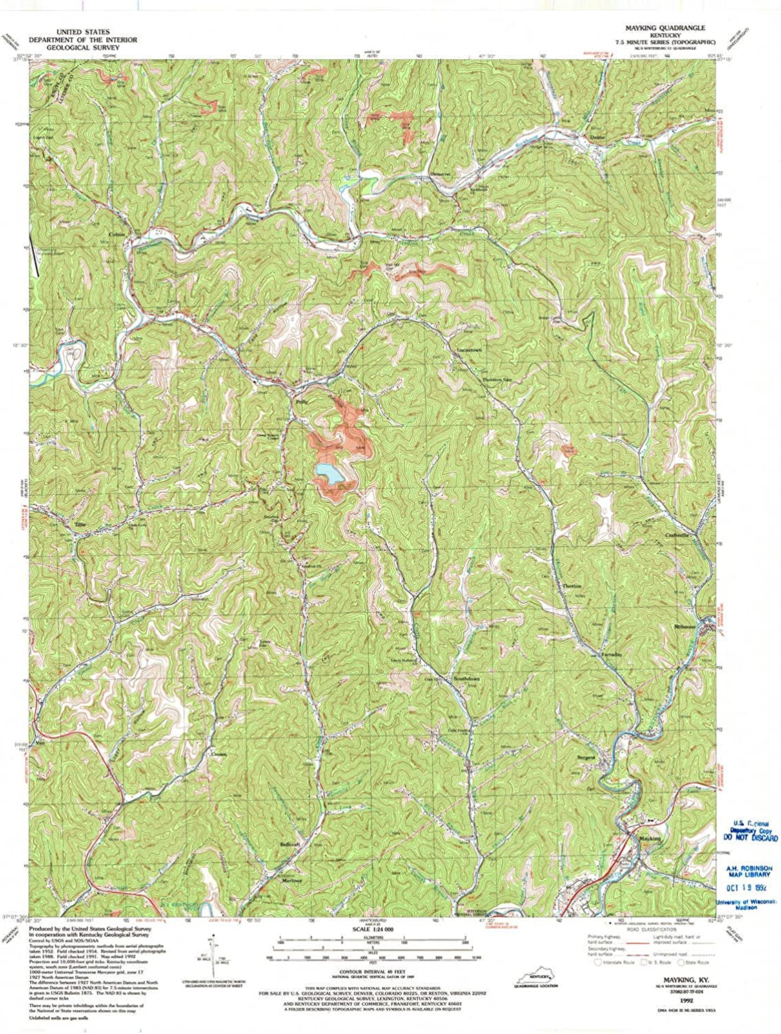 Mayking KY topo map, 1 24000 Scale, 7.5 X 7.5 Minute, Historical, 1992, Updated 1992, 27.3 x 22.4 in