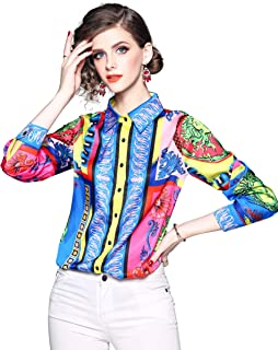 Women's Paisley Print Shirt Regular Fit Long Sleeve Button up Casual Blouse Top