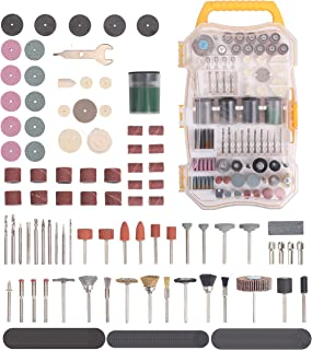 208 Pieces Rotary Tool Accessory Kit, 1/8-inch Diameter Shanks Universal Fitment for Easy Cutting, Grinding, Sanding, Sharpening, Carving and Polishing. With Storage Case