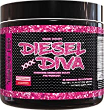 Women Preworkout Energizer and Energy Shot Strawberry Lemonade Diesel Diva Energized BCAAs with no Artificial Flavors or Colors. 3 Grams Vegan Friendly Fermented BCAAs. 330 Grams