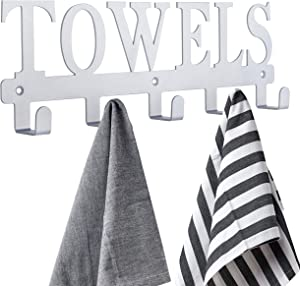 Towel Rack Towel Holder for Bathroom ,Towel Hooks, Door Hooks for Bathroom, Bedroom, Kitchen, Beach Towels, Bathrobe, Clothing, Metal Sandblasted Wall Mount Rustproof and Waterproof (Silver Gray)