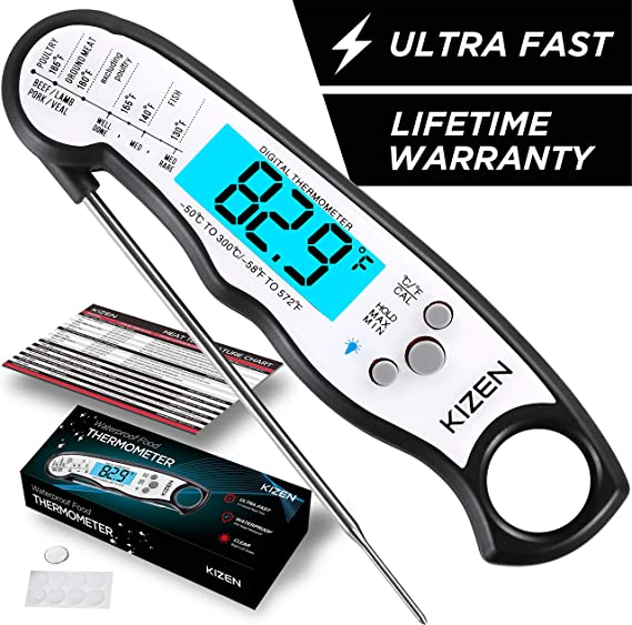 Kizen Instant Read Meat Thermometer - Best Waterproof Ultra Fast Thermometer with Backlight & Calibration. Kizen Digital Food Thermometer for Kitchen