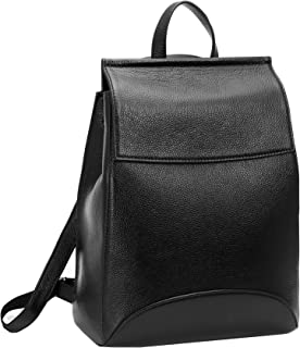 Womens Leather Backpack Casual Style Flap Backpacks Daypack for Ladies (Black-R)