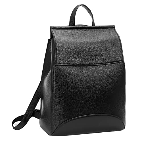 6b6496556b8d Heshe Womens Leather Backpack Casual Style Flap Backpacks Daypack for  Ladies (Black-R)