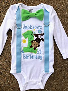 Baby Boy first birthday baby Blue Monkey and Tree 1st birthday baby boy Monkey cake smash one year Zoo outfit birthday Monkey outfit birthday