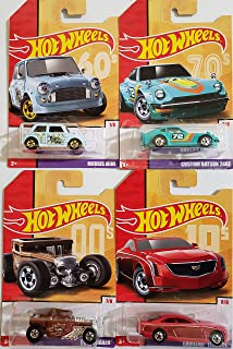 Hot Wheels Throwback 2019 Exclusive Set of 4 Moris Mini, Custom Datsun 240z, Bone Shaker & Cadillac Elmiraj