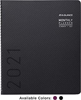 """2021 Monthly Planner by AT-A-GLANCE, 9"""" x 11"""", Black, Includes Monthly Tabs, Pockets, Spiral Bound for Students, Teachers,..."""