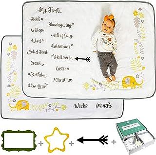 Babble Bum Baby Milestone Blanket for Boy or Girl; Soft Fleece Gender Neutral Double-Sided Monthly Milestone Blanket for F...