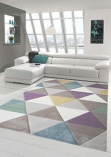 Traum Alfombra Moderna de diseño de Alfombra con triángulo en Turquesa Arena Verde púrpura 80x150 cm