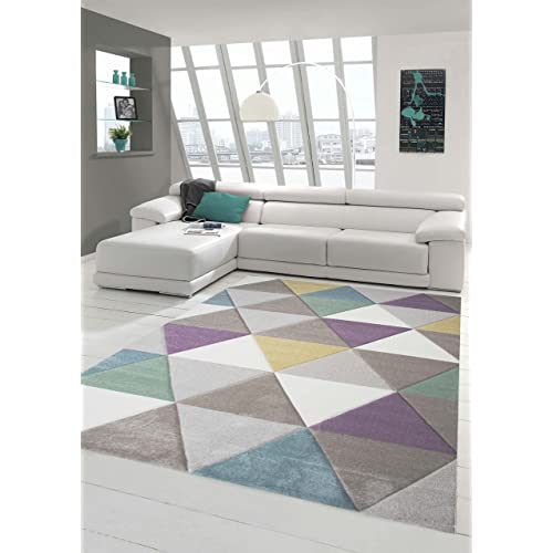 Design rug Contemporary rug Living room rug Short straight pile Carpet with contours Triangle pattern with pastel colors Colorful Turquoise Purple Mustard Yellow Green Cream Beige size 120x170 cm