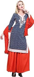 Rama Women's Cotton Straight Kurta with Palazzo Dupatta Set (Blue, XX-Large)