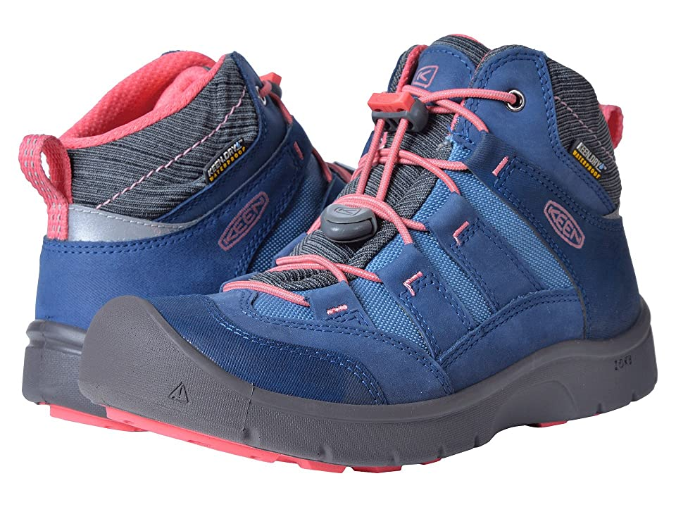 Keen Kids Hikeport Mid WP (Little Kid/Big Kid) (Dress Blues/Sugar Coral) Girls Shoes