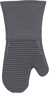 All-Clad Textiles Deluxe Heat and Stain Resistant Oven Mitt. Made of Silicone Treated Heavyweight 100-Percent Cotton Twill, Machine Washable, 14 x 6.5 Inches, Pewter Grey