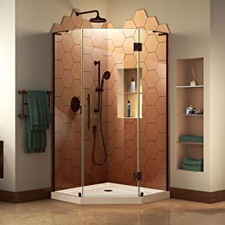 DreamLine Prism Plus 42 in. x 74 3/4 in. Frameless Neo-Angle Shower Enclosure in Oil Rubbed Bronze with Biscuit Base