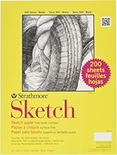 """Strathmore 351-9 300 Spiral Binding Acid-Free Light-Weight Student Quality Multi-Purpose Sketch Pad, 50 lb, 9"""" x 12"""" Size ..."""
