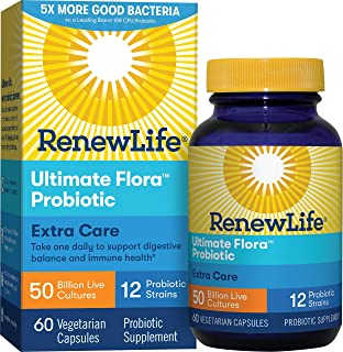 Renew Life Adult Probiotic - Ultimate Flora Extra Care Probiotic Supplement - Shelf Stable, Gluten, Dairy & Soy Free - 50 Billion CFU - 60 Vegetarian Capsules (Packaging May Vary)