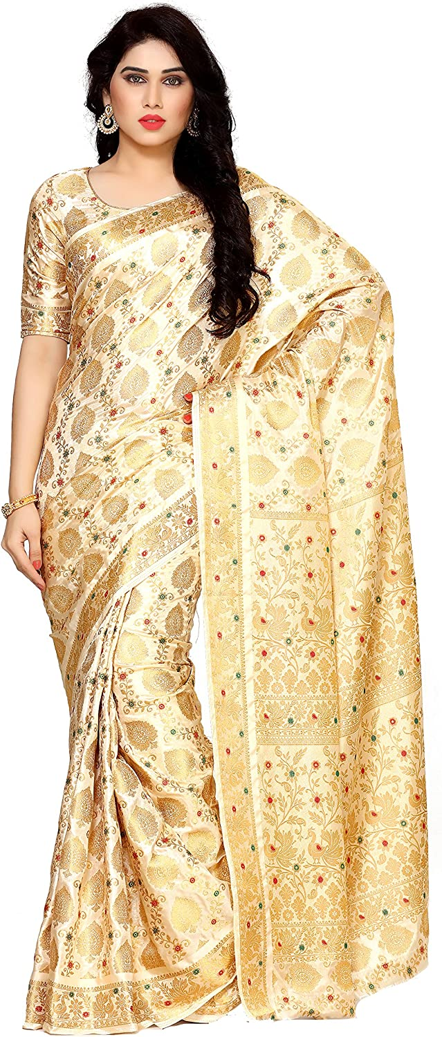 MIMOSA Art Silk Saree with Blouse Piece(412365SdHwt_Beige_Free Size)
