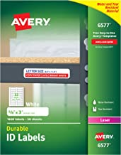 Avery Durable White Cover Up ID Labels for Laser Printers, 0.625