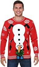 FunComInc Snowman Upside Down with Balls Men's Ugly Christmas Sweater
