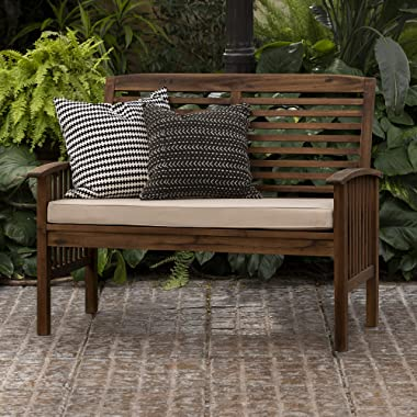 Walker Edison Rendezvous Modern Solid Acacia Wood Patio Loveseat with Cushions, 47 Inch, Dark Brown