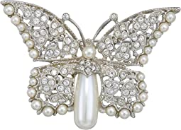 Silver/Crystal/Pearl Body Butterfly Pin