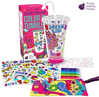 Create Your Own Personalized Tumbler for Girls with Color-In Designs! Insulated Kids Tumbler with Lid and Straw | Makes a Great Gift for Girl | Creative Craft Kit & Fun DIY Art Set for Children