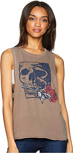 Skull Rose Washed Biker Tank Top