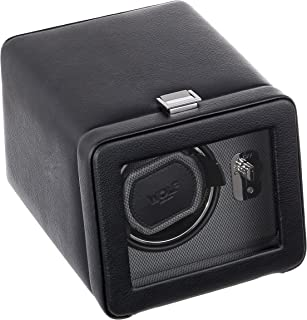 WOLF 4525029 Windsor Single Watch Winder with Cover, Black