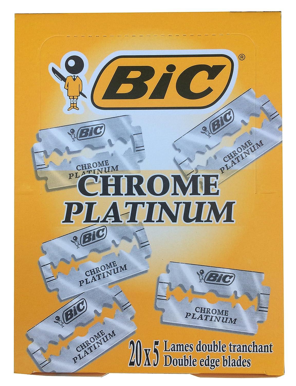 情報文言優勢BIC Chrome Platinum 両刃替刃 100枚入り(5枚入り20 個セット)【並行輸入品】