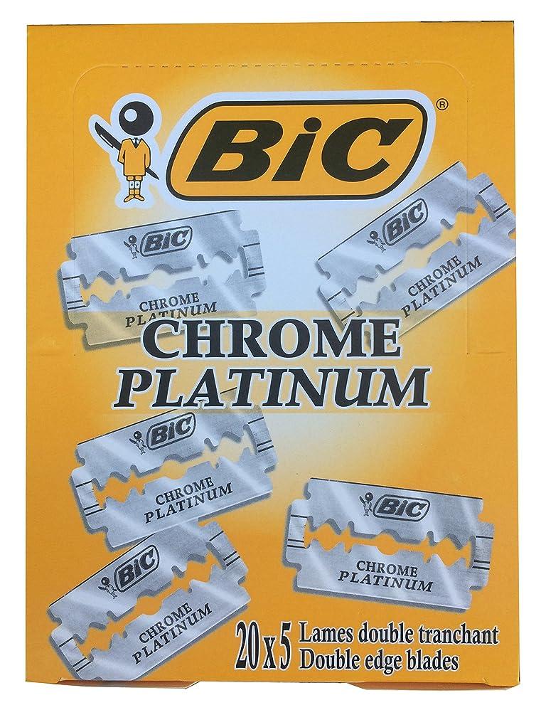 可動式小競り合い冷蔵庫BIC Chrome Platinum 両刃替刃 100枚入り(5枚入り20 個セット)【並行輸入品】
