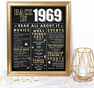Katie Doodle 50th Birthday Decorations Gifts for Women or Men | Includes 8x10 Back-in-1969 Sign [Unframed], BD050, Black/Gold