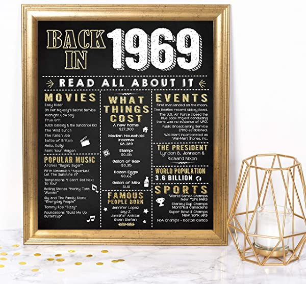 Katie Doodle 50th Birthday Decorations Gifts For Women Or Men Includes 8x10 Back In 1969 Sign Unframed BD050 Black Gold