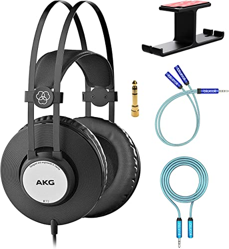 high quality AKG Pro Audio K72 Over-Ear Closed-Back Studio Headphones for Smartphones, Computers, and Mixers Bundle with Blucoil 6' 3.5mm Extension Cable, Y Splitter for Audio and Mic, wholesale and outlet sale Aluminum Headphone Hook outlet online sale