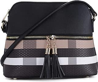 Lightweight Medium Dome Crossbody Bag with Tassel | Plaid Pattern
