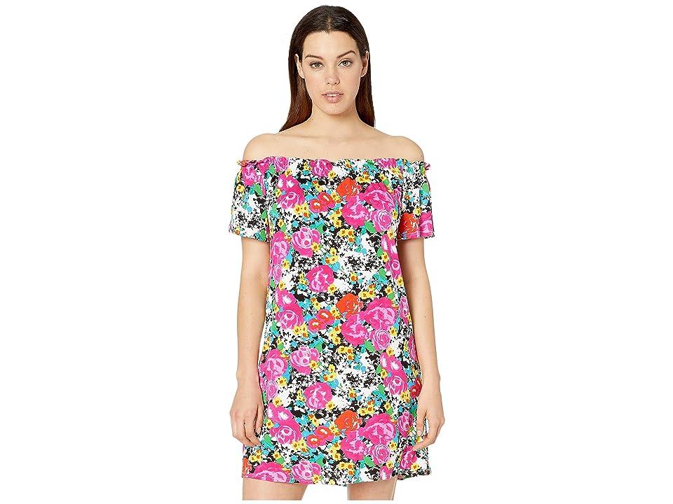 Bobeau Off the Shoulder Knit Dress (Pink Floral) Women