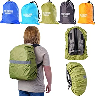 True Freedom Outdoors Waterproof Backpack Covers with Reflective Nighttime Stripe, Non-Slip Backpack Raincover with Adjustable 4 Point Crossbuckles &Storage Bag