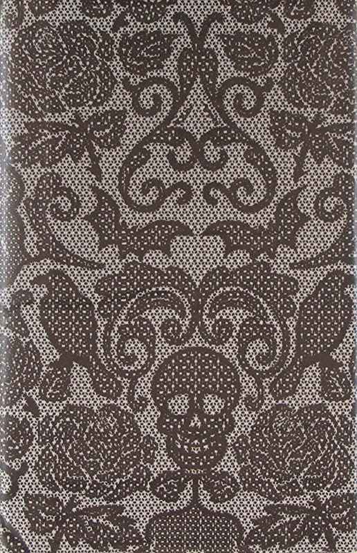 Haunted Halloween Monochrome Damask Pattern Skulls Spiders Bats Birds And Flowers Vinyl Flannel Back Tablecloth 52 X 52 Square