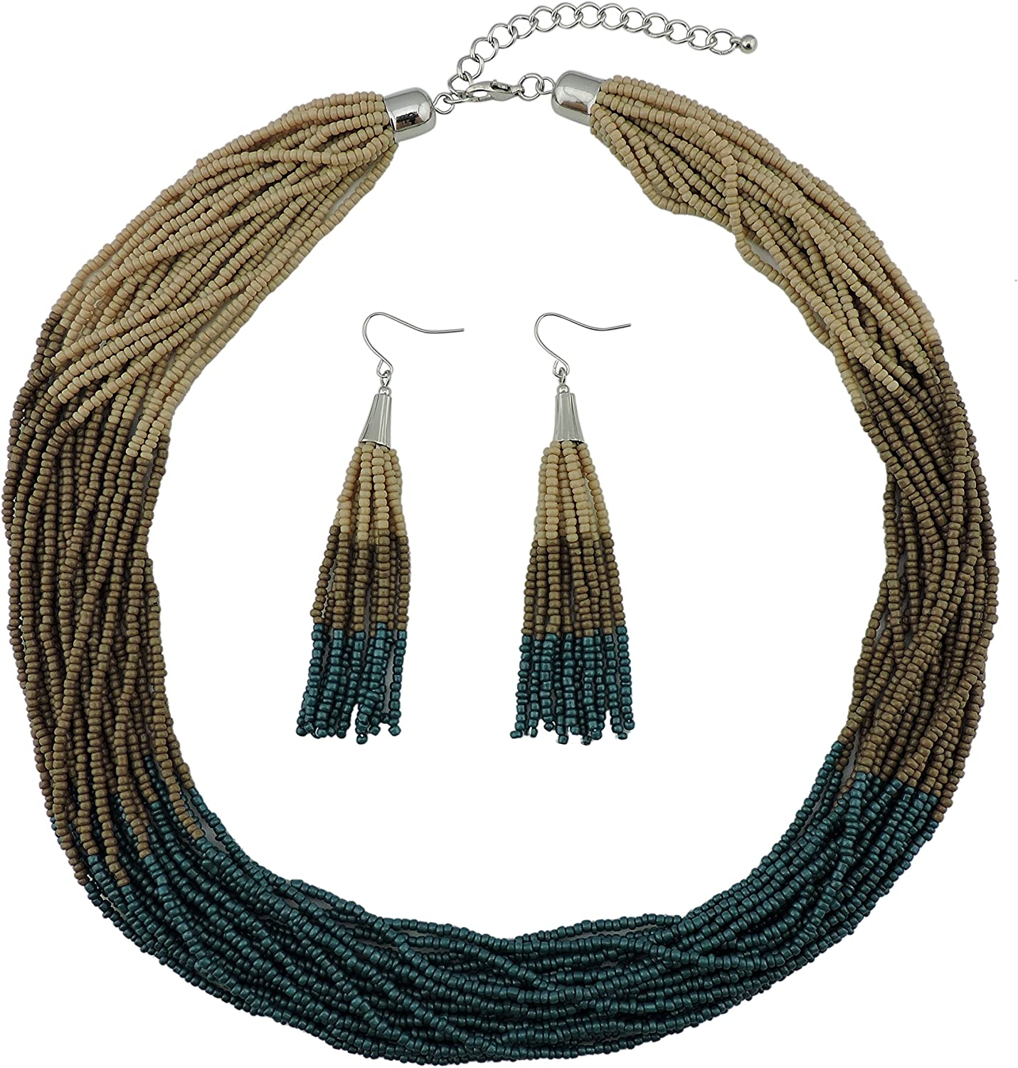 Bocar Multi Layer El Paso Mall Beaded Statement Strand Mix Necklace Set High quality new Neckl