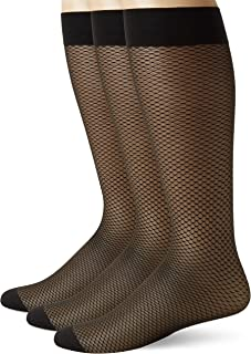 3 Pairs Big & Tall Over the Calf Mens Sheer Nylon Spandex Dress Socks