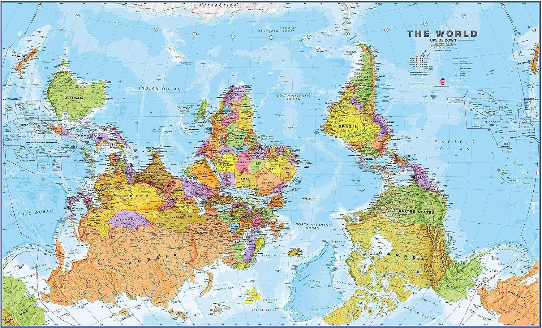 Maps International Free shipping / New 4 years warranty Huge Upside-Down Political Wall L Map World -