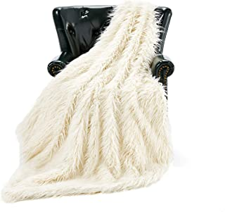 HT&PJ Luxury Faux Fur Throw Blanket Plush Long Shaggy Super Soft Throw Mongolian Fluffy Fur Style Blanket for Living Room (779A Cream 50